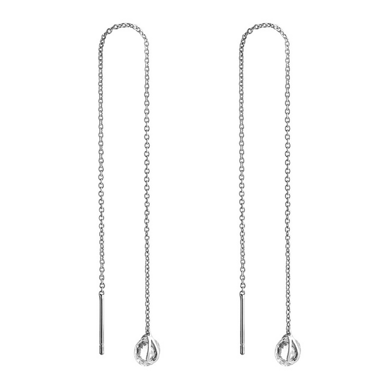 Classic Zirconia Silver Thread Earring