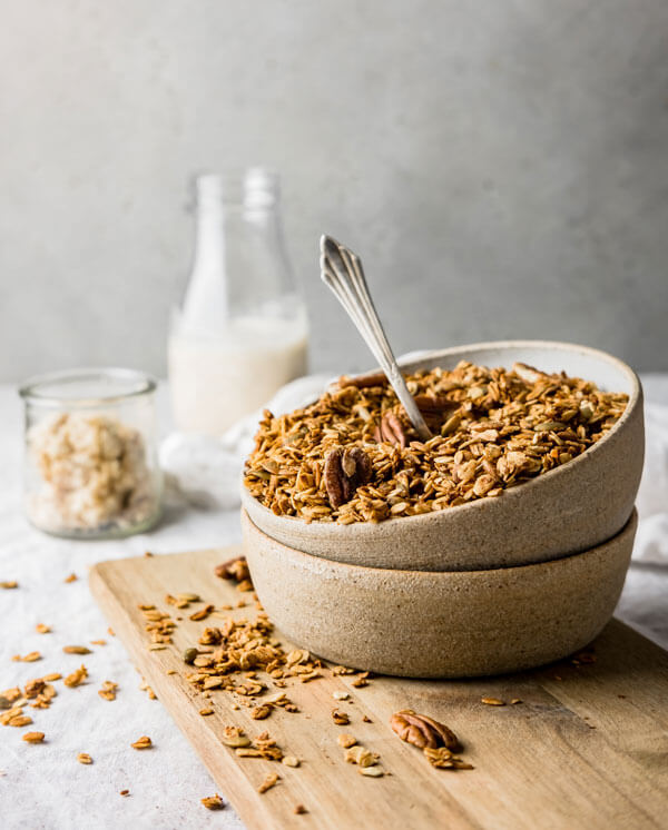 Apple Spiced Granola with Homemade Pecan Milk
