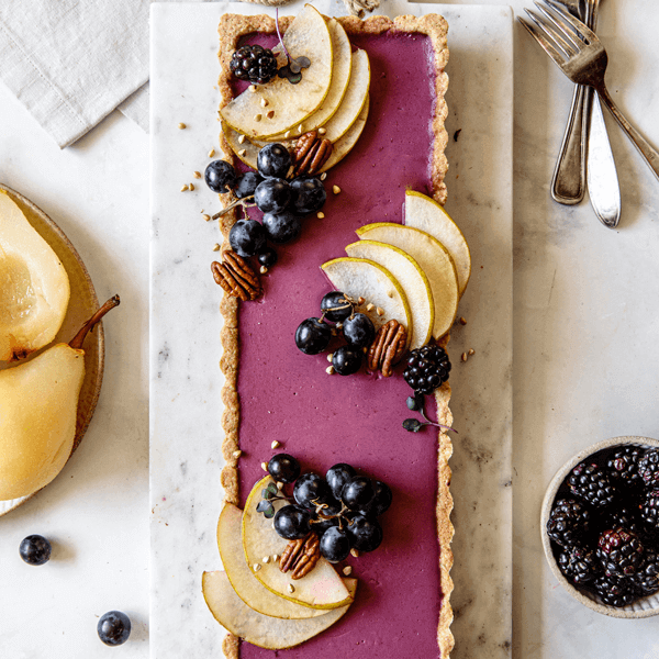 a vegan Blackberry Pear Tart