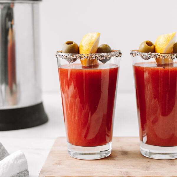 a Bloody Mary made with an almond cow