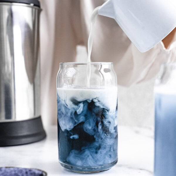 plant-based blueberry iced latte