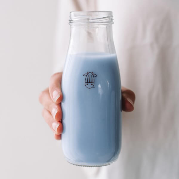 vegan blue bubblegum milk in a glass
