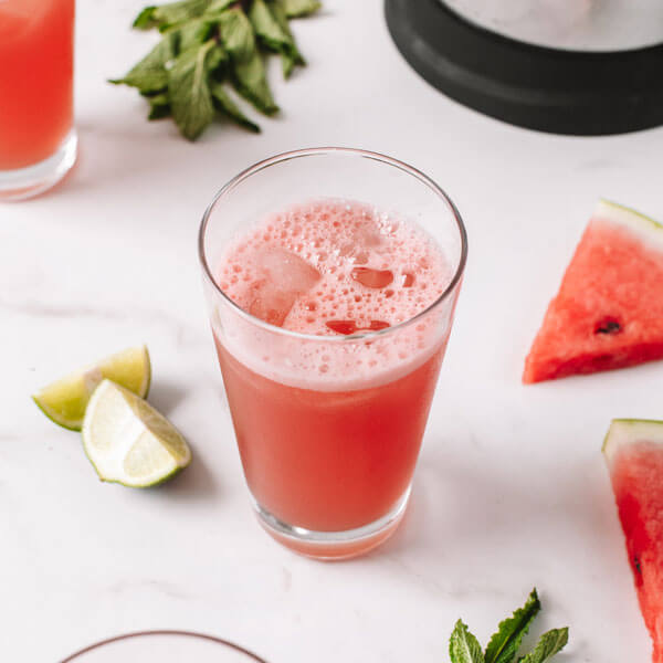 a glass of Coconut Watermelon Cooler made with the almond cow