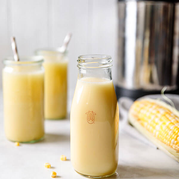 homemade vegan Corn Milk in a glass