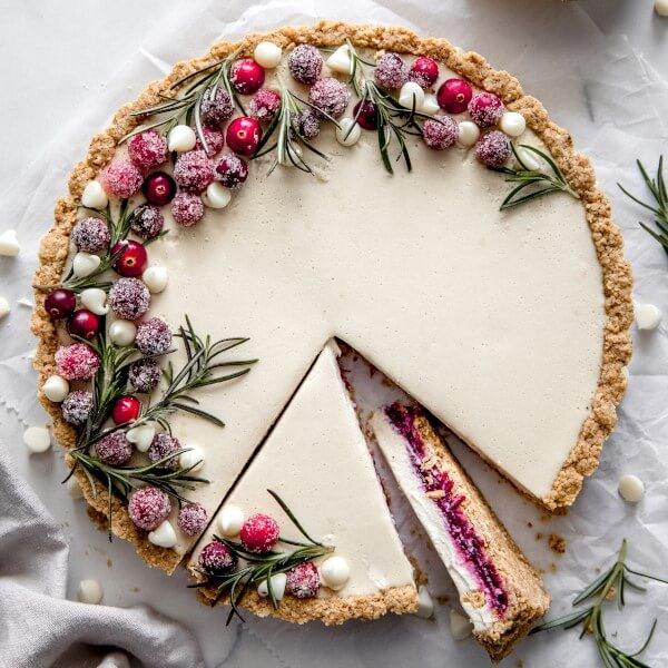 a vegan White Chocolate Cranberry Tart