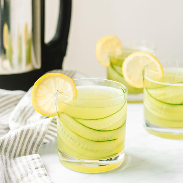 3 glasses of Cucumber Lemonade made with the almond cow