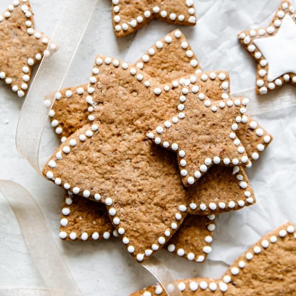 a stack of vegan Gingerbread Star Cookies