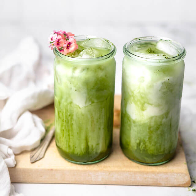 two glasses of vegan Iced Matcha Latte