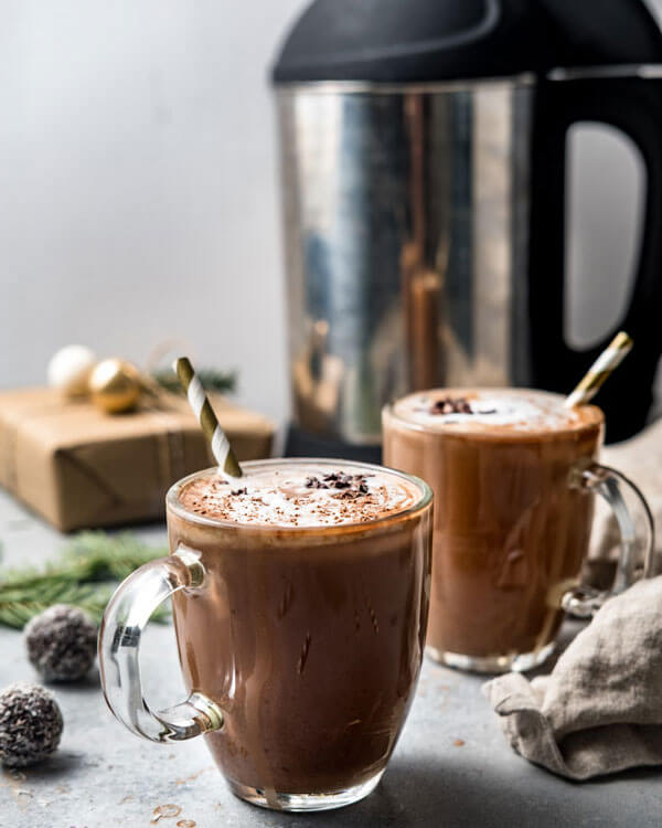 vegan Peppermint Hot Chocolate in a glass