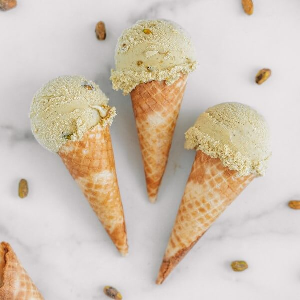 vegan pistachio ice cream in cones
