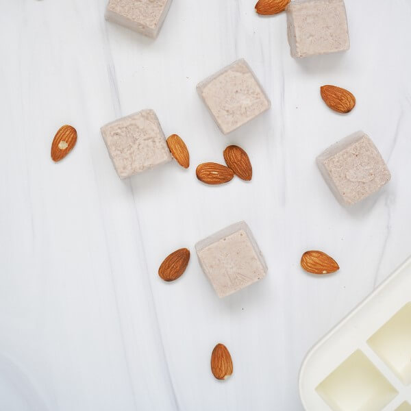 plant-based milk frozen into cubes