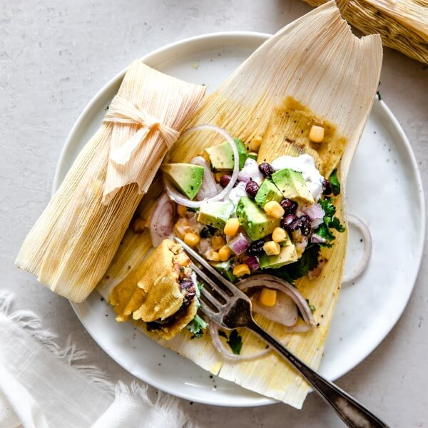 vegan tamales on a plate