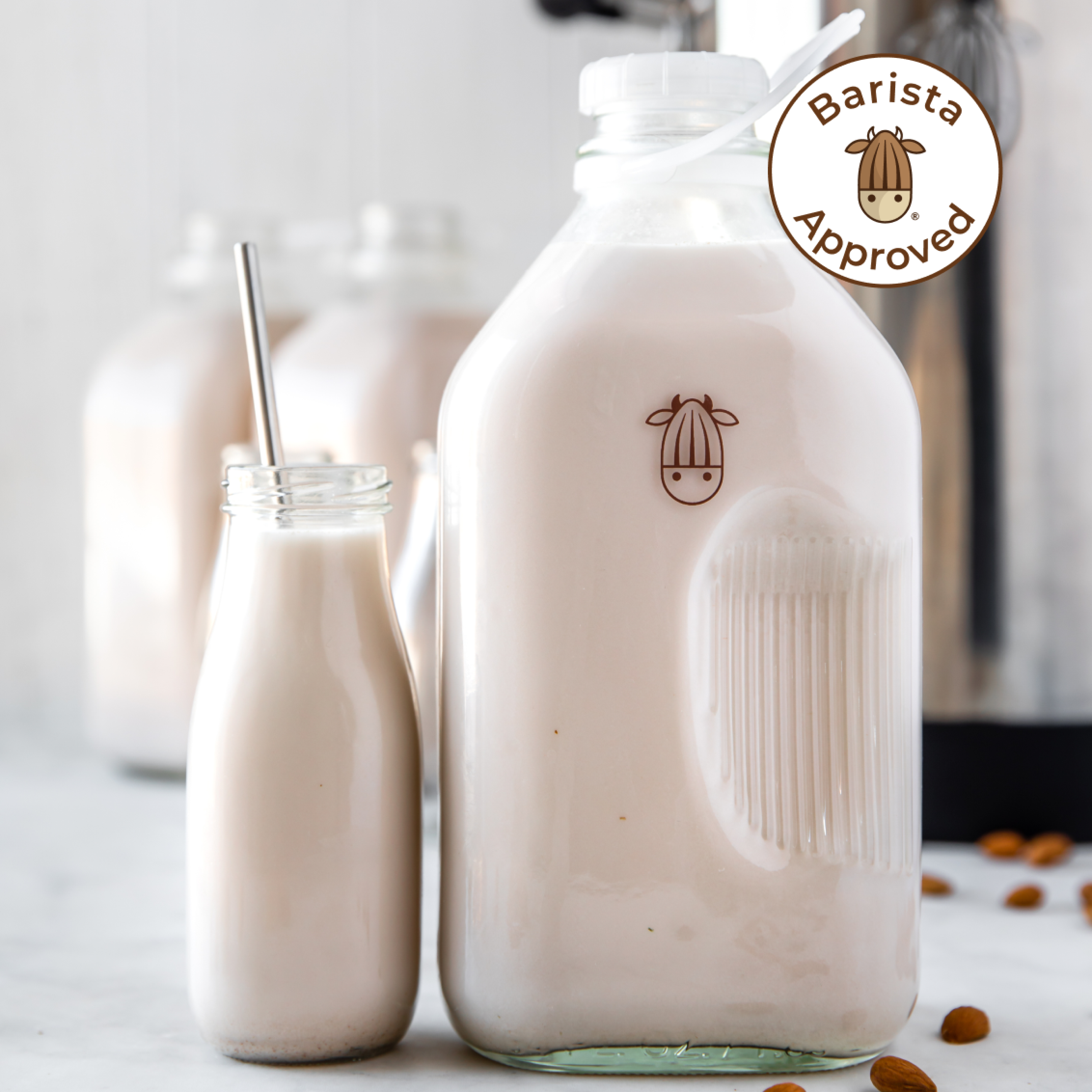 unsweetened almond milk made with the almond cow pro in an almond cow jug