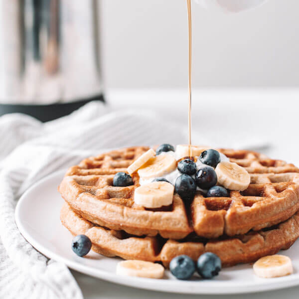 vegan waffles with banana and blueberry