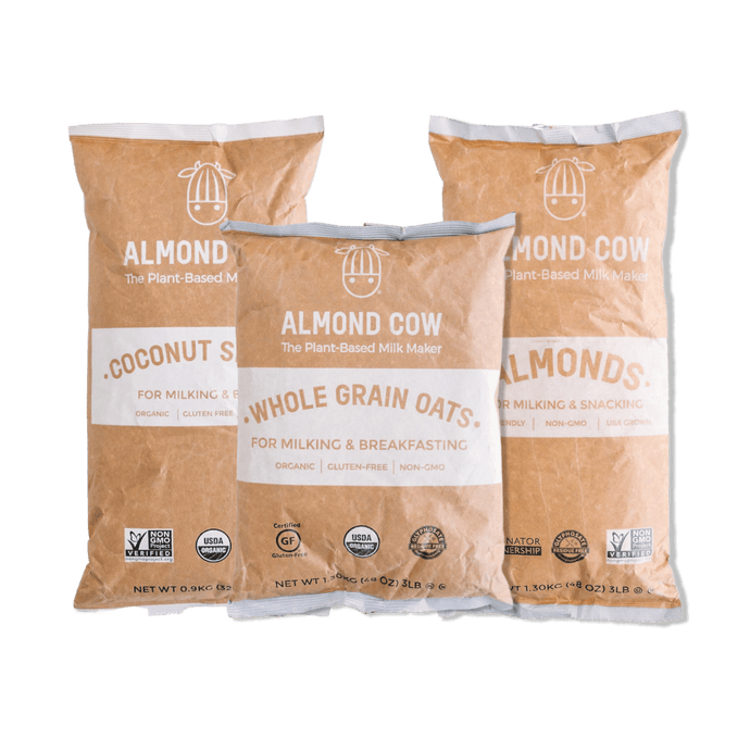 Almond Cow Bulk Ingredients - Coconut Shreds, Whole Grain Oats, and Almonds