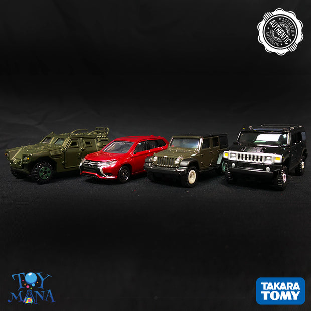 [SUV Cars Pack] Tomica Light Armoured Vehicle + Mitsubishi Outlander Phew + Hummer H2 + Jeep Wrangler