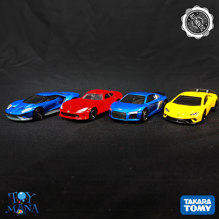 [Super Cars Pack] Tomica Lamborghini Huracan Performante + Audi R8 (1st Colour) + Ford GT (1st Colour) + SRT Viper GT