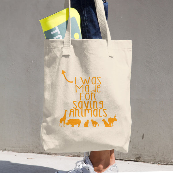Made For Saving Animals Cotton Tote Bag