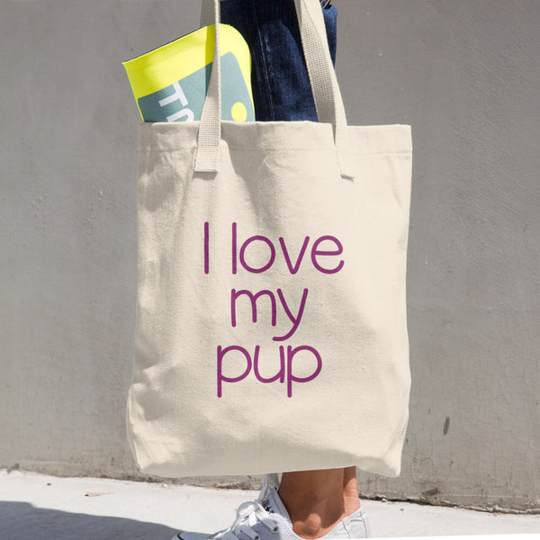 I Love My Pup Cotton Tote Bag