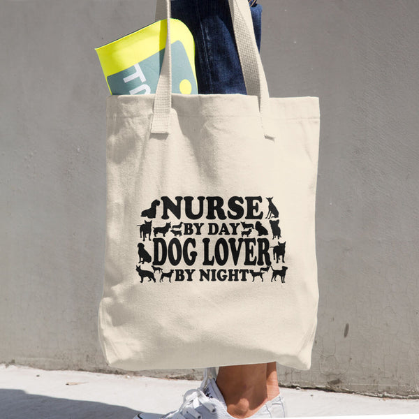 Nurse By Day Dog Lover By Night Cotton Tote Bag
