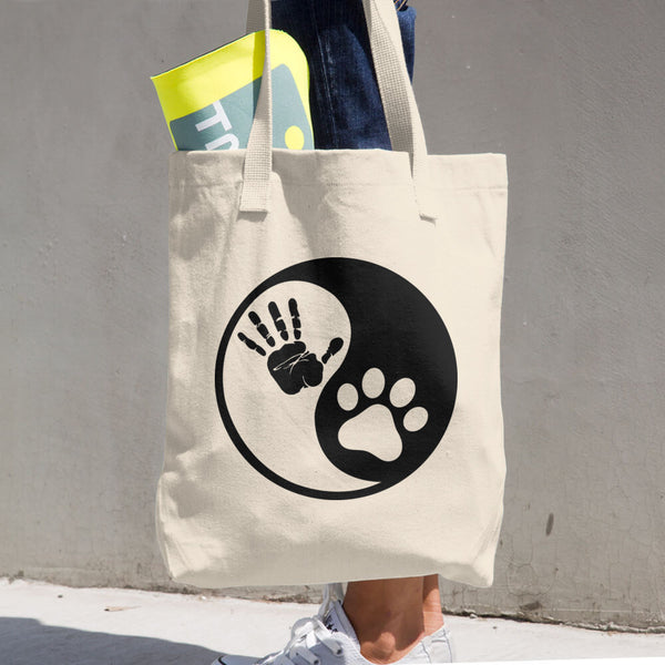 Hand-Paw Ying-Yang Cotton Tote Bag