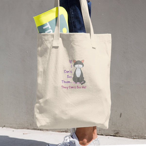 Hiding Cat Cotton Tote Bag