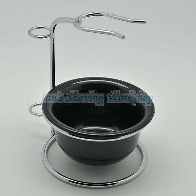 Stainless Steel Shaving Brush Stand and Plastic Shaving Bowl