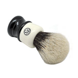 2 Band Finest Badger Hair Shaving Brush White Black Resin Handle