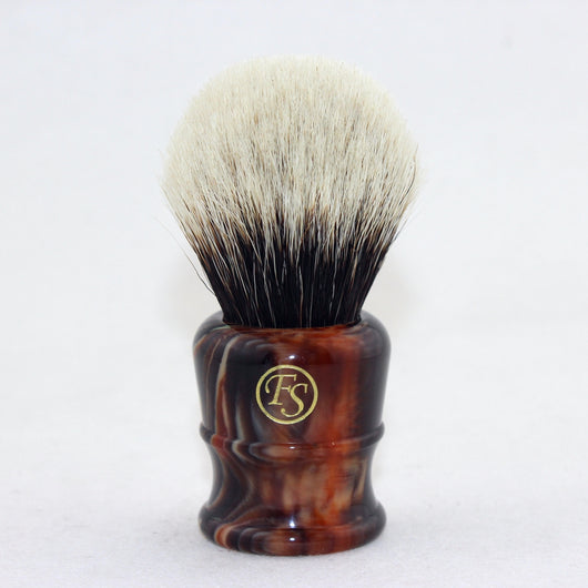 2 Band Finest Badger Hair Shaving Brush Faux Amber Handle 26mm Knot FI26-AM33
