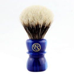 20MM 2 Band Finest Badger Hair Shaving Brush w/ Sapphire Blue Handle
