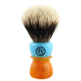 20MM 2 Band Finest Badger Hair Shaving Brush w/ Mixed Blue Amber Handle
