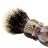 20MM 2 Band Finest Badger Hair Shaving Brush w/ Faux Horn Handle FI20-FH70