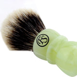 20MM 2 Band Finest Badger Hair Shaving Brush w/ Faux Jade Handle
