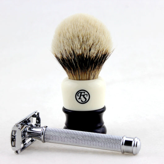 Manchurian Silvertip Badger Knot 24MM; FS-9306K Butterfly Safety Razor
