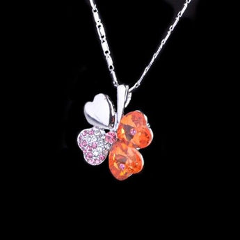 Orange Crystal and Diamondeda 4 Leaf Clover Necklace | Closeout Pricing!