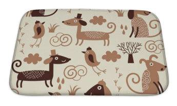 Bath Mat, Pattern With Cute Dogs