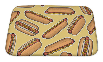 Bath Mat, Pattern Of Hot Dogs Illustration