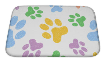 Bath Mat, Pattern With Doodle Dog Paws Colorful Animal Print