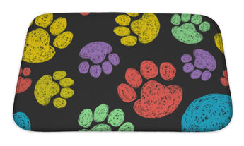 Bath Mat, Paw Prints Pattern