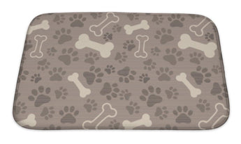 Bath Mat, Patern Pet Paw Print And Bone
