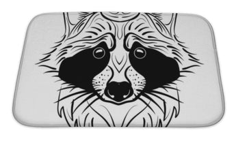 Bath Mat, Sketch Raccoon Face Hand Drawn Doodle