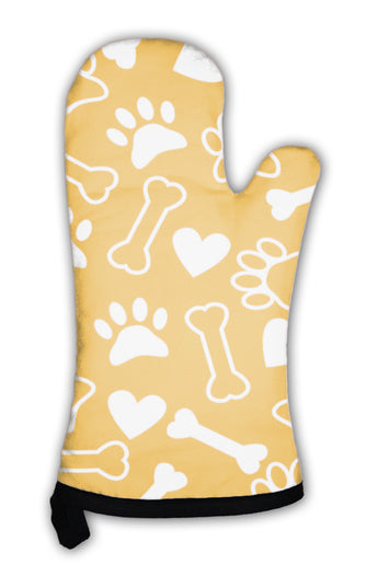 Oven Mitt, Pattern With Dog Paw Print Bone And Hearts
