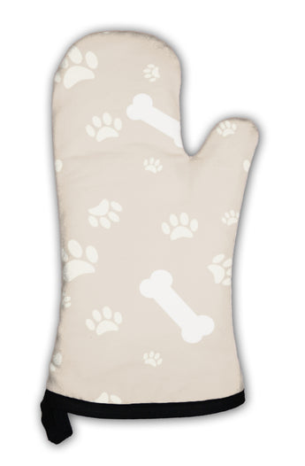 Oven Mitt, With Dog Paw Print And Bone