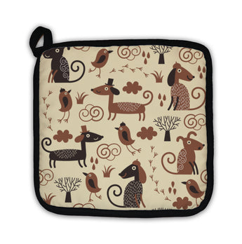Potholder, Pattern With Cute Dogs