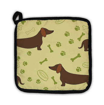 Potholder, Pattern With Cartoon Dachshunds