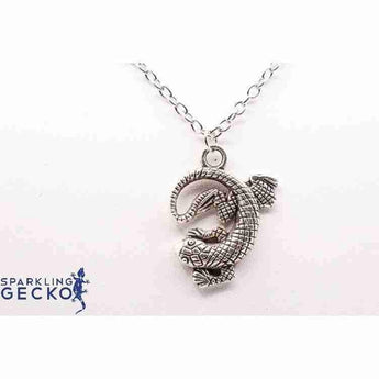 Antique Silver Tone Curled Gecko Necklace | Sparkling Gecko-Apparel & Accessories > Jewelry > Necklaces-Sparkling Gecko