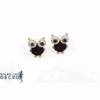 Black and Gold Owl Earrings
