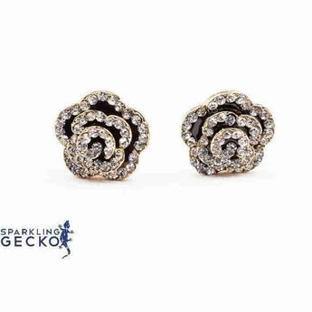 Black Enamel and Diamoneda Rose Earrings