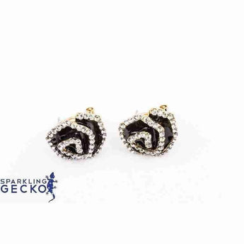Black Enamel and Diamoneda Spiral Earrings | Sparkling Gecko-Apparel & Accessories > Jewelry > Earrings-Sparkling Gecko