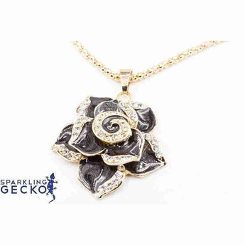 Black Rose Enamel and Diamoneda Pendant Necklace